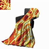 Burnt Orange Decor The Original Vellux Blanket Hot Burning Lava Texture with Bursting Fire Flames Volcanic Heated Magma Image Fall Winter Spring Living Room 71' Wx93 L Orange Yellow