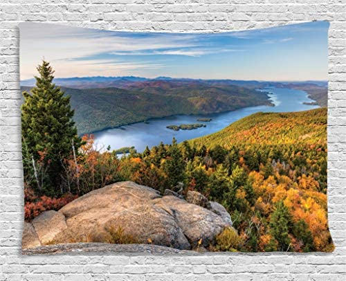 Lunarable Adirondack Tapestry, Tranquil Landscape of Lake George and Tongue Mountain Over The Mountain Top, Wide Wall Hanging for Bedroom Living Room Dorm, 80 X 60 , Green Blue