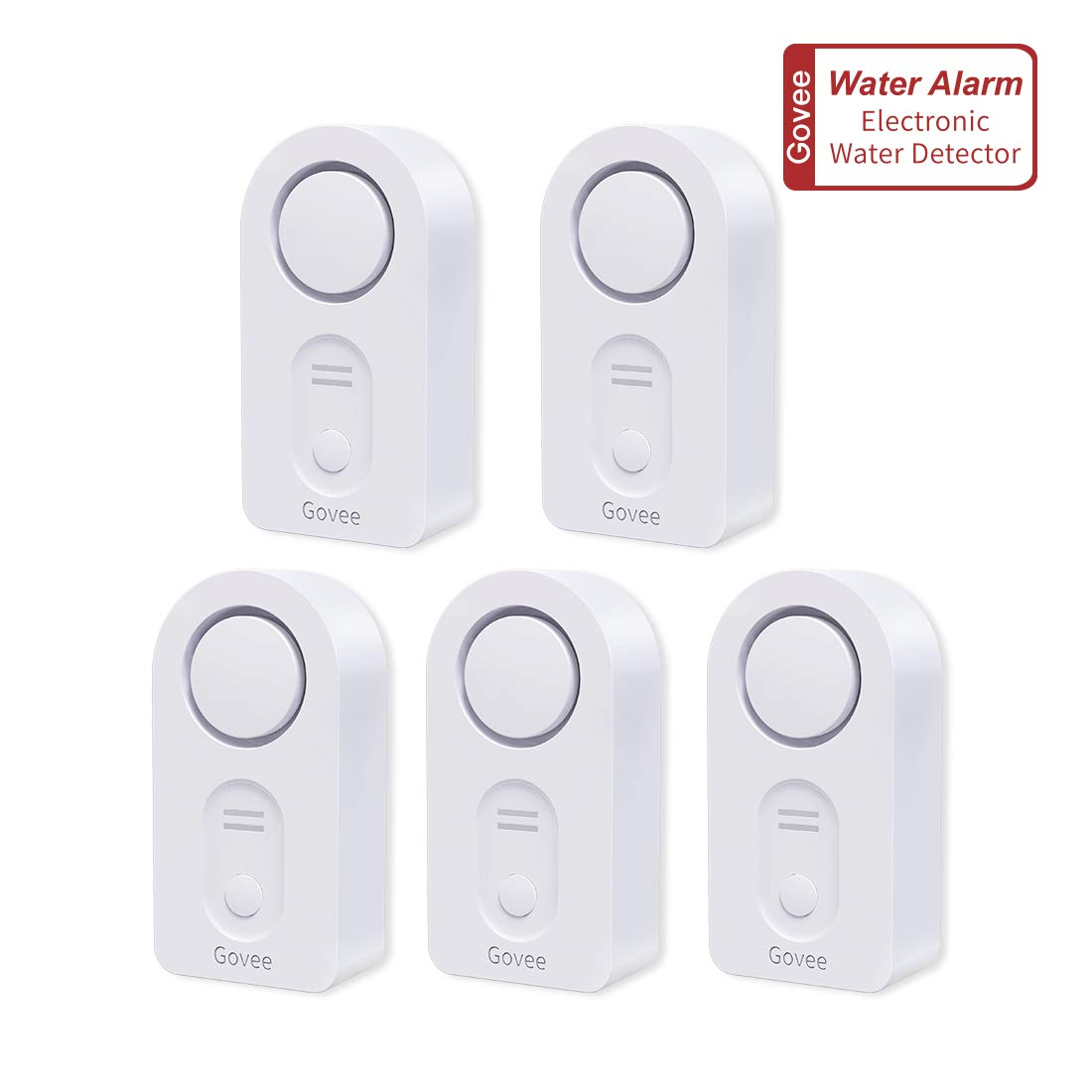 Govee Water Leak Detector, Wireless Water Sensor and Alarm 5 Pack, 100 DB Water Leak Alert for Home Security, Basement, Floor(Low Battery Alert, Press to Mute, Battery Included)