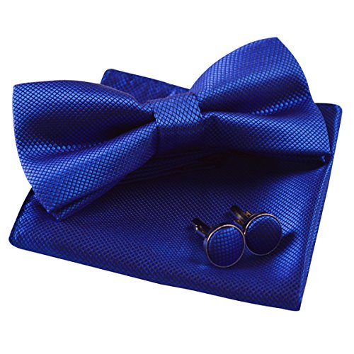 Mens Solid Formal Banded Pre-Tied Bow Ties Set-Royal Blue