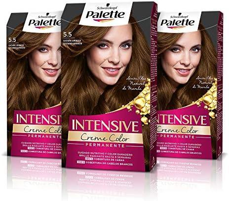 Schwarzkopf Palette Intensive Creme Color – Tono 5.5 cabello Castaño Luminoso (Pack de 3) - Coloración Permanente de Cuidado con Aceite de Marula, ...