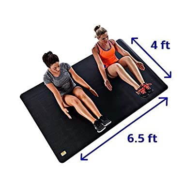 Pogamat Large Exercise Mat - 78  X 48  X 6.5mm (6.5 feet x 4 feet) Extra Thick Fitness Mat - High Density Anti-Tear Workout Mat And Yoga Mats. Always Lays Flat And Does Not  Bunch Up . Best Home Exercise Mat For Workouts With SHOES Like P90X, Insanity, and All Types of Cardio Exercise. Weighs 17 lbs. Perfect For The Living Room Or Basement.