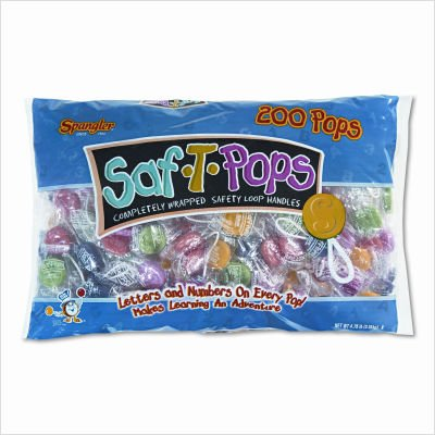 Saf-T-Pops, Assorted Flavors, Individually Wrapped, 200/Pack by Spangler