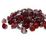 VIVID Red Ember - 1' Reflective Fire Glass 'Diamond' Gems for...