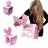 Baby : Adorox Pink Girl Baby Shower Wishing Well Card Box Decoration Cute Pretty Keepsake Carriage Rattle