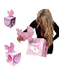 Adorox Pink Girl Baby Shower Wishing Well Card Box Decoration Cute Pretty Keepsake Carriage Rattle BOBEBE Online Baby Store From New York to Miami and Los Angeles