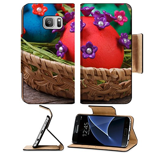 Luxlady Premium Samsung Galaxy S7 Flip Pu Leather Wallet Case IMAGE ID 25908432 Easter eggs in a basket closeup on wooden table