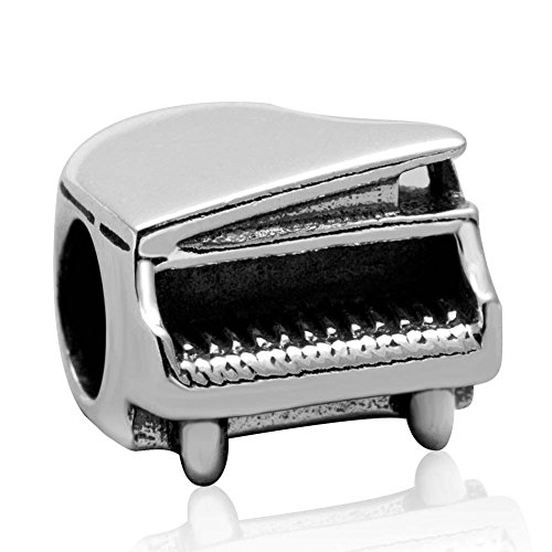 Piano Charm 925 Sterling Silver Music Charm Art Melody Charm for DIY Charms Bracelet ()
