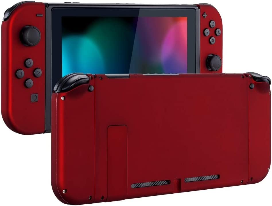 eXtremeRate Soft Touch Grip Back Plate for Nintendo Switch Console, NS Joycon Handheld Controller Housing with Full Set Buttons, DIY Replacement Shell for Nintendo Switch - Red