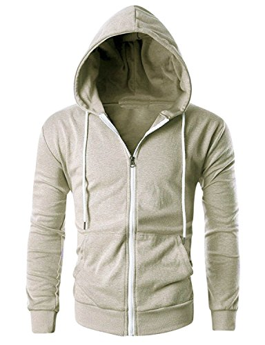Just Cotton 300 GSM Lightweight 100% Cotton Fashion Zip up Hoodie Fleece Jacket with Inner Phone Pocket(Beige,XXL) ()