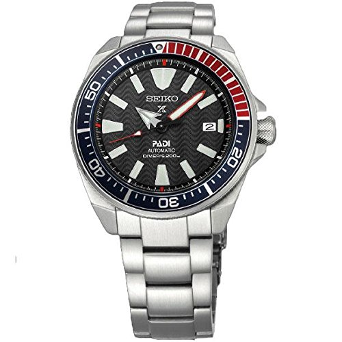 Seiko Men's Prospex Special PADI Edition Samurai Black Dial Stainless Steel Bracelet Watch - Model: SRPB99 Seiko Automatic 200m Diving Watch