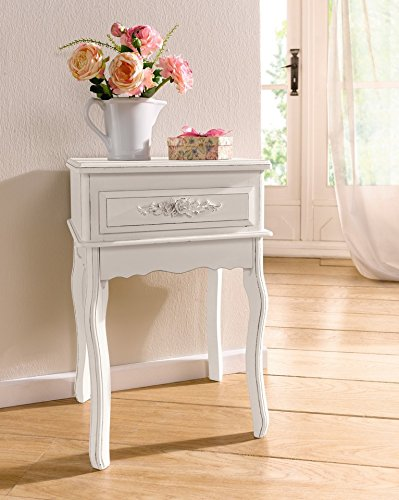 Antique White Shabby Chic Wood Console Table W/ Rosebuds Product SKU:  HD221568