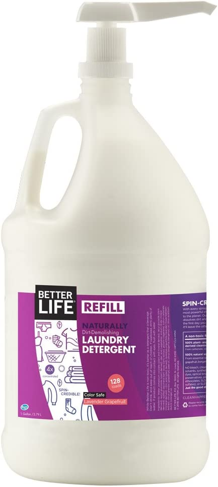 Better Life Natural Laundry Detergent with Pump, Lavender Grapefruit, 1 Gal (128 Loads), 2423A