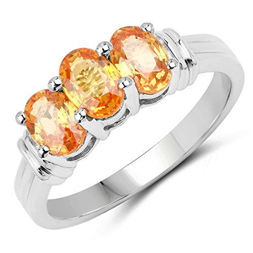 Johareez 1.95 Carat Genuine Orange Sapphire .925 Sterling Silver 3-Stone Ring