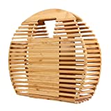 HOSPORT Women Handmade Bamboo Totes Bamboo Handbags Bamboo Top Handle Bags for Shopping Travel Holiday