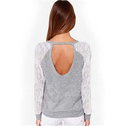 Women Spring Casual Long Sleeve Lace Backless Hoodies Sweatshirts Pullovers Tops Sudaderas Mujer S-XXL at Amazon Womens Clothing store: