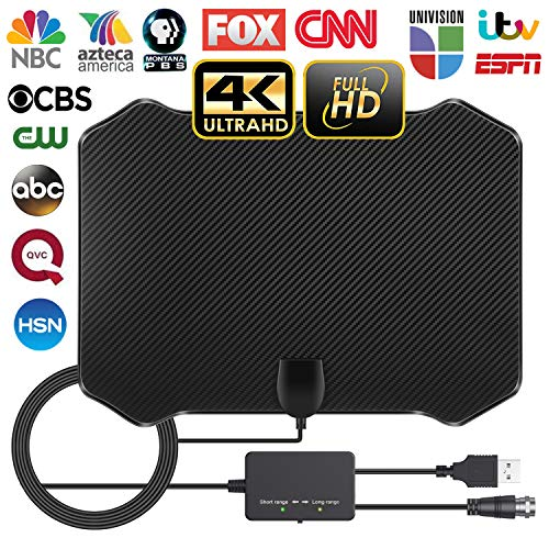 Amplified HD Digital Indoor TV Antenna, 60-130 Miles Long Range with 2019 Newest Powerful Amplifier Signal Booster Support 4K 1080P Freeview for Life Local Channels (Antenna Tv Amplified)