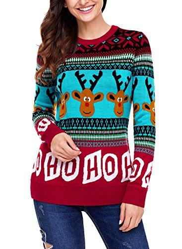 Sidefeel Women Reindeer HO HO HO Ugly Christmas Sweater Medium Red (Sweater Reindeer)