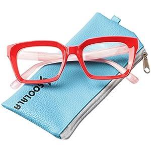 SOOLALA Retro Desinger 50mm Large Lens Square Reading Glass Big Eyeglass Frame, Red, +1.5