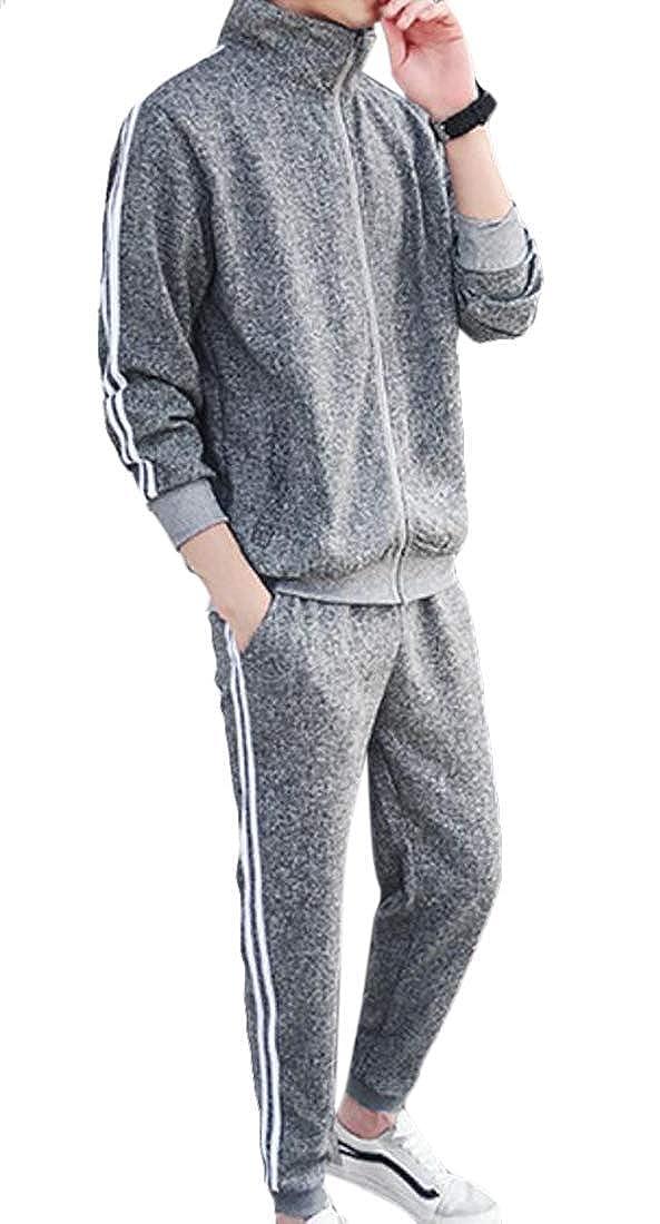 Grey BU2H Men 2 Pieces Tracksuit Long SleeveFull Zipper Jogger Sweatsuit