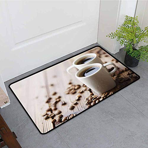 ONECUTE Crystal Velvet Doormat,Coffee Espresso in Cups on Wooden Table with Beans Hot Drink for Romantic Couples,Anti-Slip Doormat Footpad Machine Washable,35