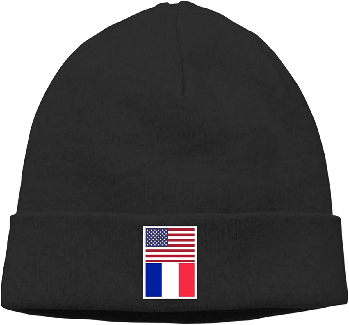 BBlooobow Men Women American Flag and France Flag Soft Knit Beanie Caps