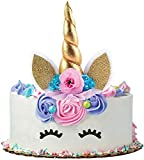 Unicorn Cake Topper set. Handmade with Gold Unicorn Horn, Ears, flowers and Eyelashes. Unicorn Party Decoration for Birthday Party, Baby Shower and Wedding.