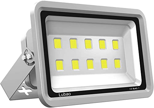 Lubao LED Outdoor Flood Light 500W,Super Bright Security LED Spotlight,Waterproof Grade IP65,Cool White 6000K,Brightness 50,000lm, for Parking,Garden,Basketball,Playground and Commercial Lighting