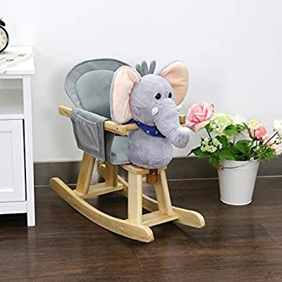 Peach Tree Baby Kids Toy Plush Wooden Rocking Horse Elephant Theme Style Riding Rocker with Sound, Grey