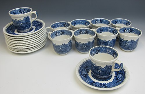 - Lot of 22 Adams China ENGLISH SCENIC BLUE SCALLOPED Demitasse Cup & Saucers EX