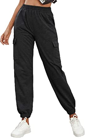 Famulily Womens High Waist Joggers Jogging Bottoms Cargo Pants with Pockets