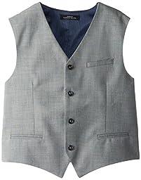 Calvin Klein Big Boys\' Sharkskin Blue Deco Vest, Light Grey, Large
