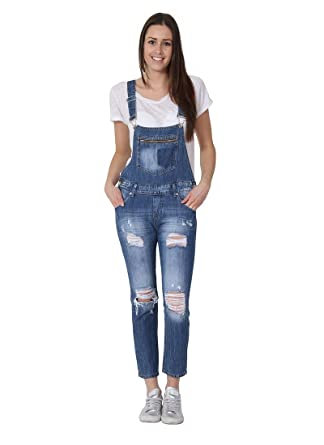 Damen Latzhose - Regular Fit 3/4 Overalls für damen denim jean mode SOFIA-
