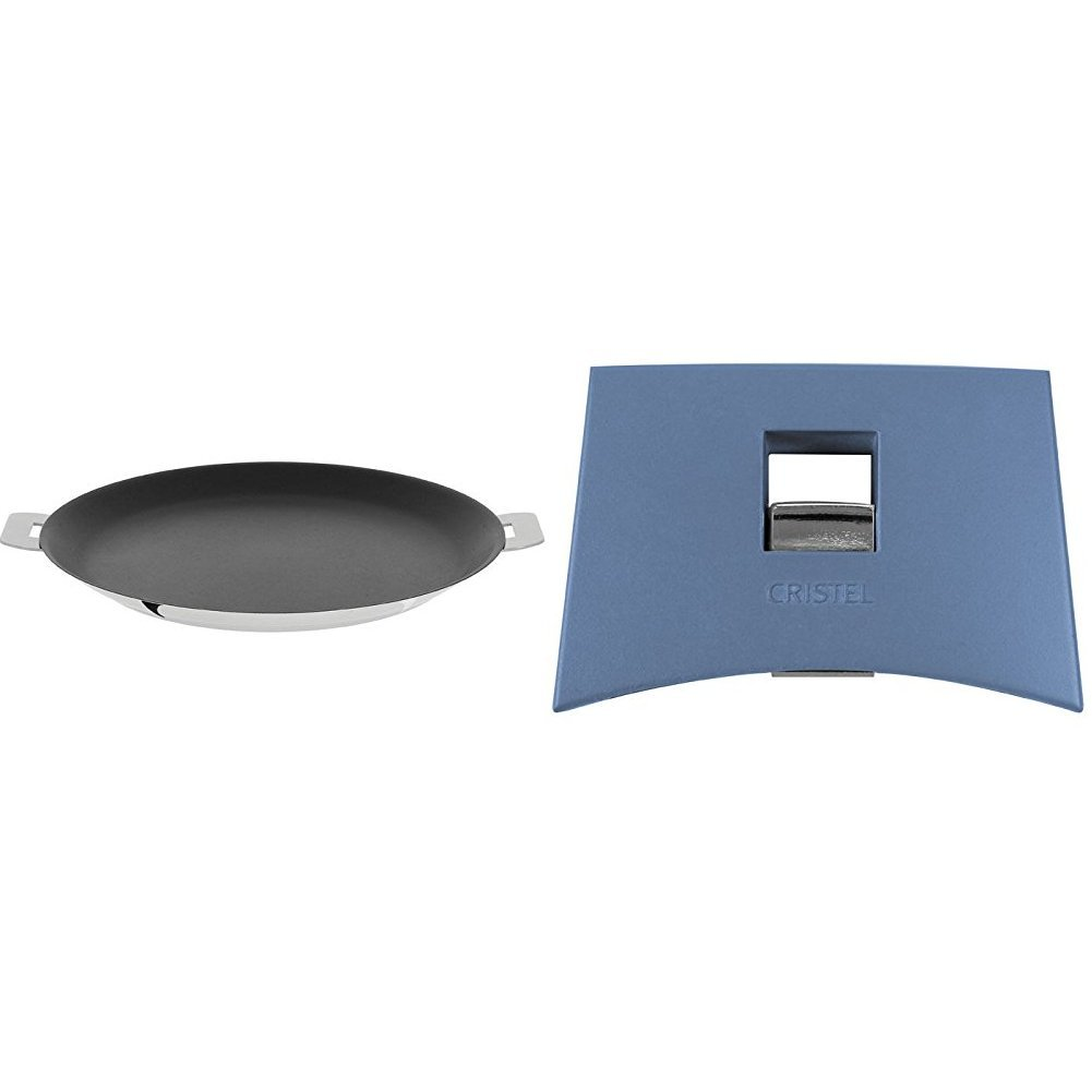 Cristel CR30QE Non-Stick Crepe Pan, Silver, 12'' with Cristel Mutine Spplmabl Set of Handles, Lavender