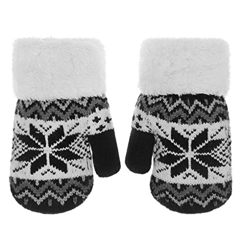 Toddler Kids Winter Warm Thick Full Finger Gloves Children Assorted Color Magic Ski Gloves Mittens (Black Snowflake, For 5-12 Years)