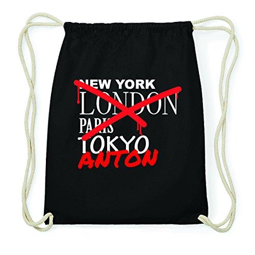 JOllify ANTON Hipster Turnbeutel Tasche Rucksack aus Baumwolle - Farbe: schwarz Design: Grafitti ekRuBa