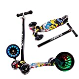 QSHS Scooter, Adjustable Height Soft Rubber Handle Telescopic T-Shaped Rod Anti-skid nylon glass board with Thickened PU Flashing Wheels for 6-12 Years Old Children