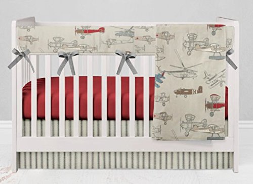 Crib Bedding Set - Vintage Airplane Red - 4 Piece Crib Bedding Set with Rail Guard by Twig + Bird - Handmade in America
