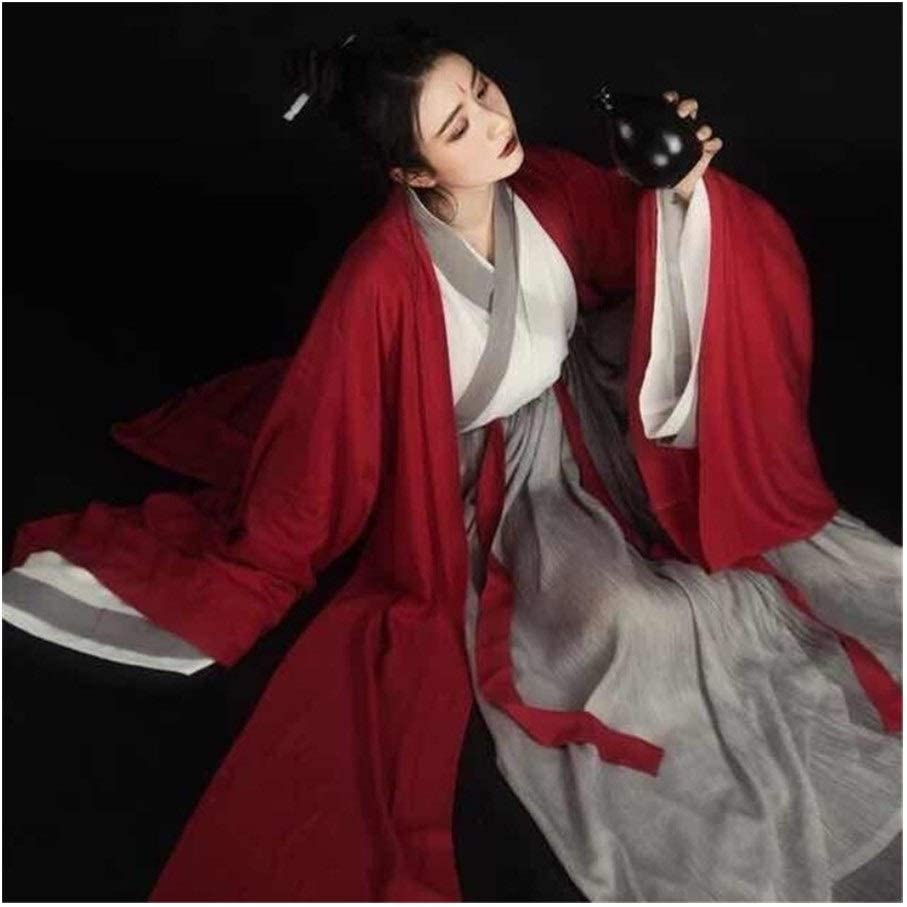 Traje De Época Folk Dance Mujeres Hanfu Chino Elegante Traje De Hanfu Mejora De La Dinastía Han Espadachín Cosplay Traje Traje Falda Mujer (Color, Size : XL)