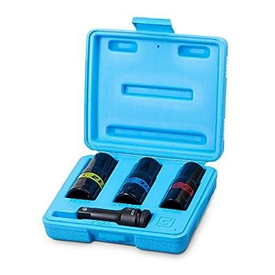 Capri Tools Impact Flip Socket Set, Lug Nut Service, Includes 17, 19, 21mm Metric Sizes and 3/4 ,13/16, 7/8 SAE Sizes
