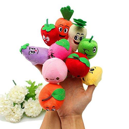 10 Pcs Plush Finger Puppets Doll Fruits Vegetables Sets Baby Toys // 10 piezas de felpa tteres de dedo mueca frutas verduras establece los juguetes del beb