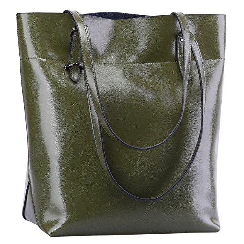 S-ZONE Vintage Genuine Leather Tote Shoulder Bag Handbag Big Large Capacity (Olive Green)