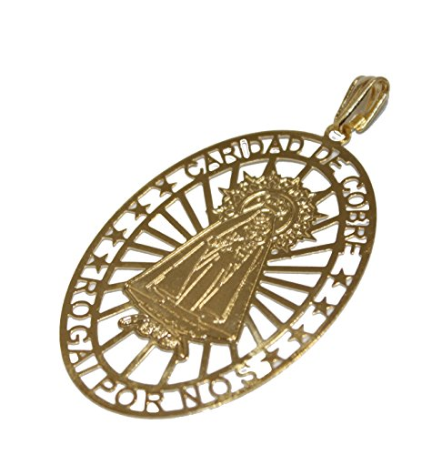 - Virgen Caridad Del Cobre Our Lady of Charity Yoruba Pendant 18k Gold Plated Medal with 18 Inch Chain