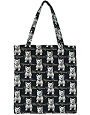 Signare Tapestry Black Reusable Grocery Eco Friendly Shopping Tote Bag in Dog Design (Westie)