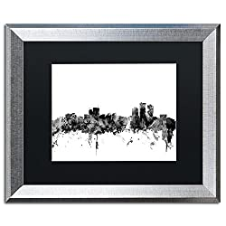 Anchorage Alaska Skyline B&w By Michael Tompsett, Black Matte, Silver Frame 16x20-inch