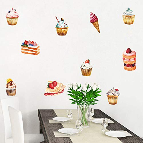 Delicious Cake Ice Cream Wall Sticker Birthday Party Decorations for Candy Store Window Vinyl DIY Refrigerator Mural Home Decor by Inveroo