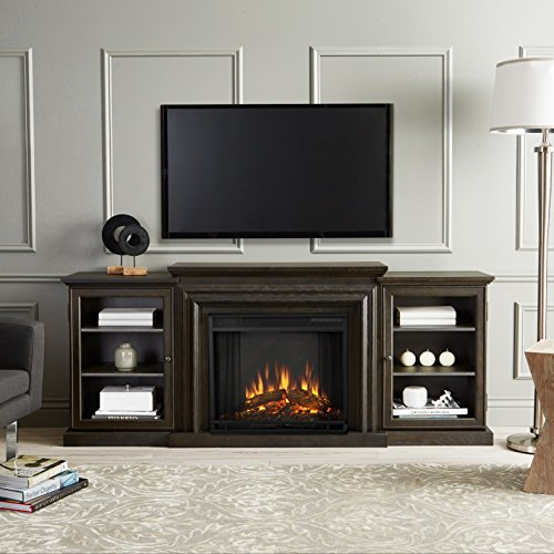 Real Flame Frederick Grey 72 x 15.5 D x 30.1 in. H Electric Ent - Ctr D