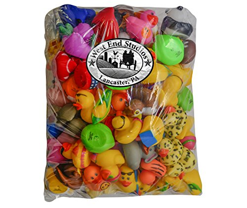 West End Studios Rubber Duck Assortment for Happy Birthday Party, Baby Shower Games, Gift Bags, Bath Toys, Carnival, Variety Pack of 100 by West End Studios