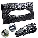 Car Tissue Holder and Glasses Holder, FineGood PU Leather Backseat Sun Visor Napkin Holder with Sunglassed Holder - Black