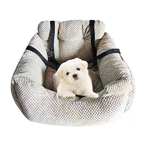 Four Seasons BeiJiaEr Series Deluxe Bucket Pets Car Seat Carrier Booster Bed Travel Safety for Small Dogs and Cats with Storage Pockets and Two Removable Mattress (Khaki)